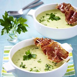 Potato Soup with Fried Parma Ham.