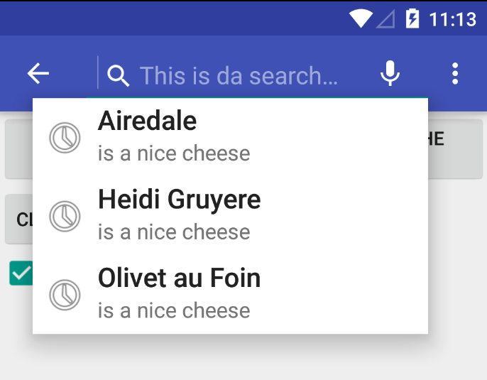 Search View Demo App- screenshot