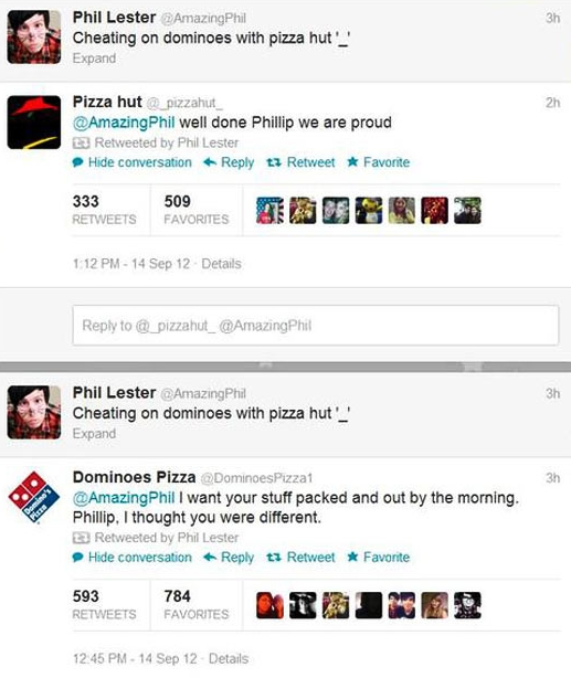 Pizza Hut and Dominoes Pizza engaging in Twitter conversations