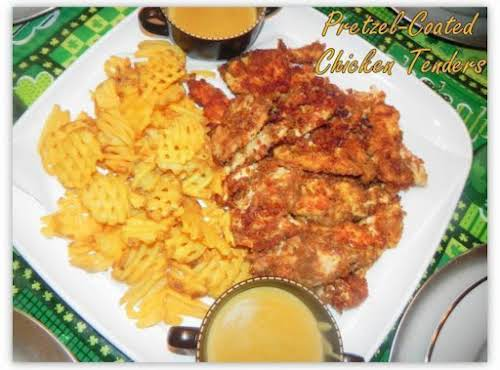 """Pretzel-Coated Chicken Tenders with Beer Cheese Sauce """"Wow, what an extremely simple..."""