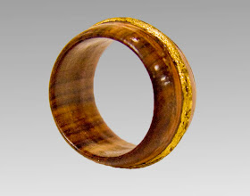 "Photo: Jerry Mauch - Wedding Ring - 3/4"" Diameter - Brazilian Rosewood,, Bloodwood Veneer, Gold Leaf"