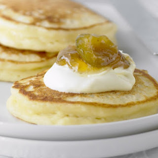 Ricotta Pancakes with Fig Jam and Whipped Cream.