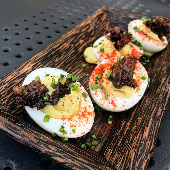 Deviled eggs with espresso-bacon jam, Rhyme or Reason