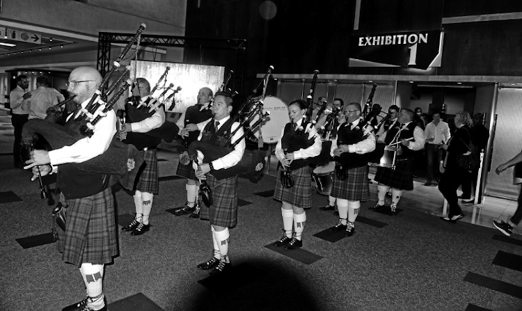 Setting the scene: The Transvaal Scottish band performs at Johannesburg's Whisky & Spirits Live festival. Picture: FREDDY MAVUNDA