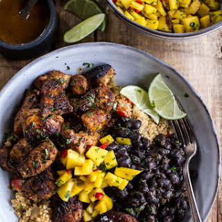 Cuban Chicken and Black Bean Quinoa Bowls with Fried Chili Spiced Bananas + Spicy Mangos..