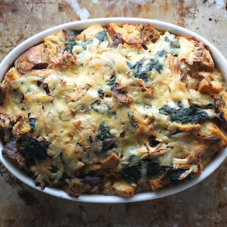 Wild Mushroom and Spinach Savory Bread Pudding