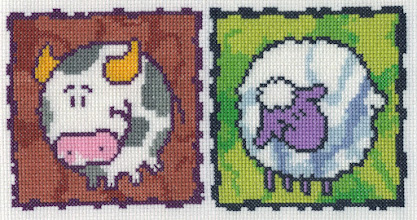 "Photo: Completed 4 Mar 2007. Two in a series. I was planning to leave 2"" between the cow and the sheep, but rushed the measuring. *sigh* The kiddo I'm planning to give it to won't notice though :-)."