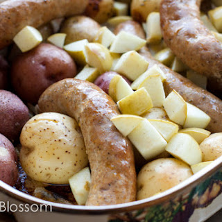 Roasted Sausages, Potatoes, Onions & Apples.