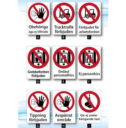 Skylt, trucktrafik, personalhiss, tippning förbjuden mm A4, 210x297mm