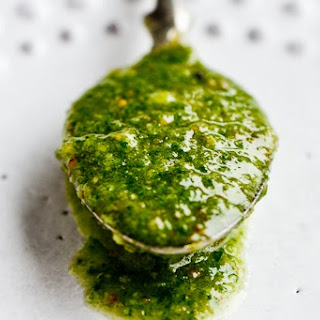 SORREL PESTO WITH MARCONA ALMONDS.