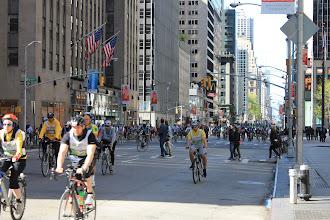 Photo: Five Boro Bike Tour, May 5th. New York, Manhattan. 6th avenue with 49th Street