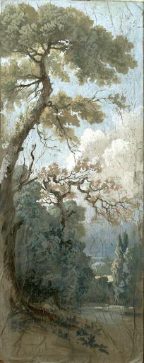 Vieux Pins. Caséine sur toile,150x60cm
