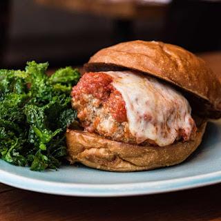 Beef and Maitake Mushroom Meatball Burgers with Tomato Butter Sauce.