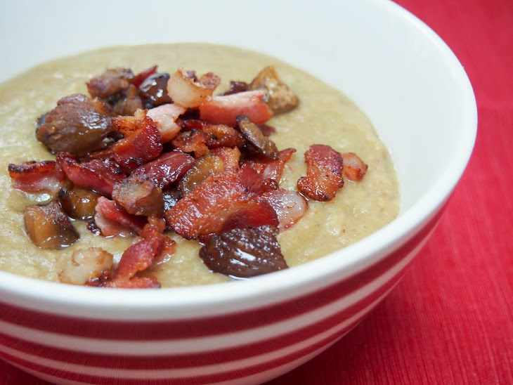 Bacon and Brussel sprout soup with crispy bacon and chestnut Recipe ...