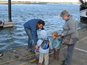 Photo: A British family on the quay at Wells-Next-the-Sea.