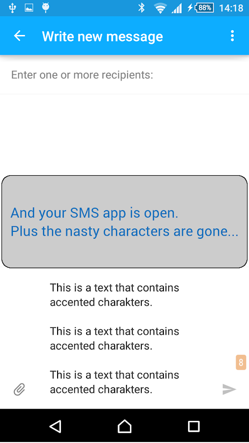 Remove SMS accents- screenshot
