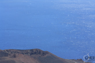 Photo: A calm zone in the wake of an island (El Hierro). On the left side, the sea is wind-shelterd, while on the right side, the effect of waves is visible.