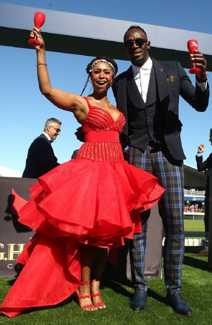Usain Bolt and Minnie Dlamini at the Sun Met in Cape Town on Saturday 27 January 2018.