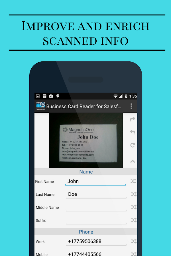 Business Card Reader for Salesforce CRM - Android Apps on Google Play