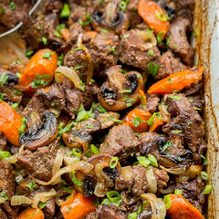 Beef with Caramelized Onions and Mushrooms