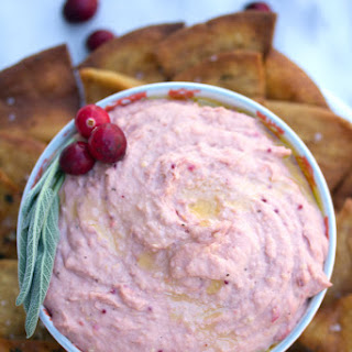 Cranberry Hummus with Sage Pita Chips