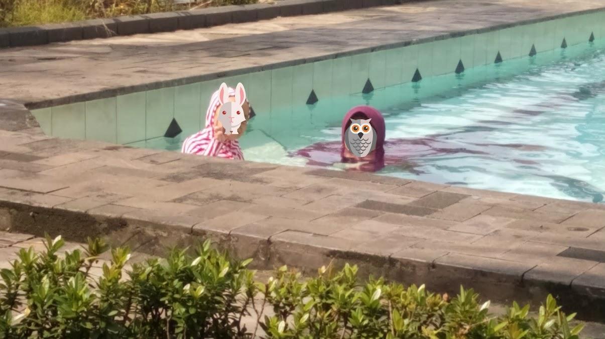 Salah satu pojokan di kolam renang Pesona Khayangan Depok