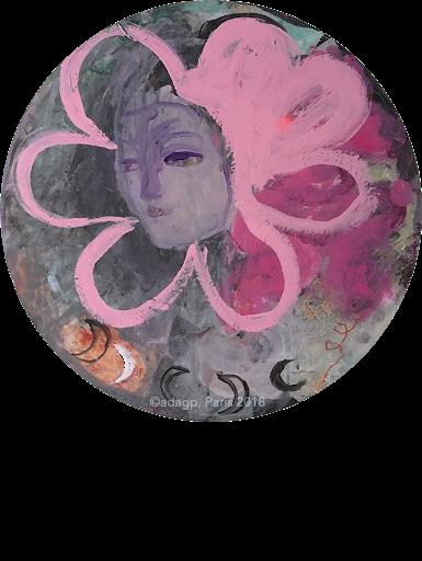 romance-sophie-lormeau-peinture-acrylique-bouche-marguerite-fleuamoureux-lovers-lune-moon-rose-pink-collage-toile-rone-rondo-enfance-artiste-art-contemporain-figuratif-singulier-colorful-dream-reve-adagp