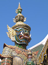 Photo: A green giant guards an entryway at Wat Phra Kaew (the Temple of the Emerald Buddha) in Bangkok.