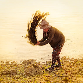 Another Day by Vijay Tripathi - People Street & Candids ( work, sea life, farmer, backlight, seaweed, worker, beach, motion blur, street photography )