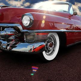 Red Caddy by JEFFREY LORBER - Transportation Automobiles ( jeffrey lorber, rust 'n chrome, vintage car, car photo, red car, cadillac, lorberphoto )