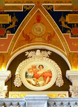 Photo: Mural vignette of Wisdom by Robert Reid on the wall of the gallery above the main entrance.
