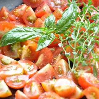 Baked Cherry Tomatoes With Spaghetti.