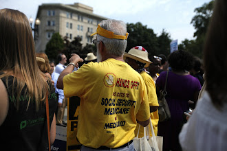 Photo: Health care protesters demonstrating outside the Supreme Court in Washington, D.C., on Thursday.