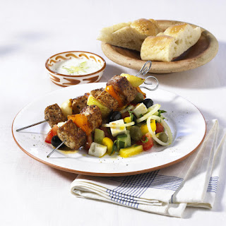 Pork Kebabs with Tzatziki and Greek Salad