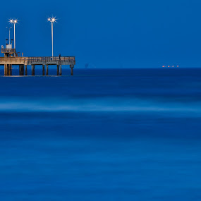 Blue Hour at the pier by Angie Birmingham - Landscapes Beaches ( mexico, blue hour, gulf, ocean, beach )
