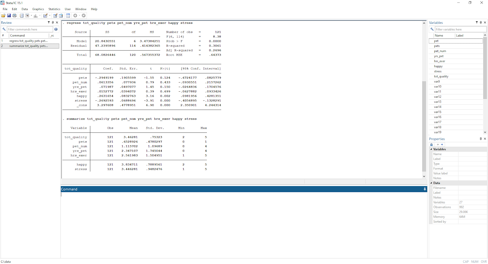 A Stata/IC 15.1 Graphics File Edit Data Statistics User Window Help Variables Review regress tot_quality pets pet_num yrs_pet