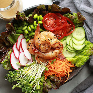 Grilled Miso Shrimp Garden Salad.