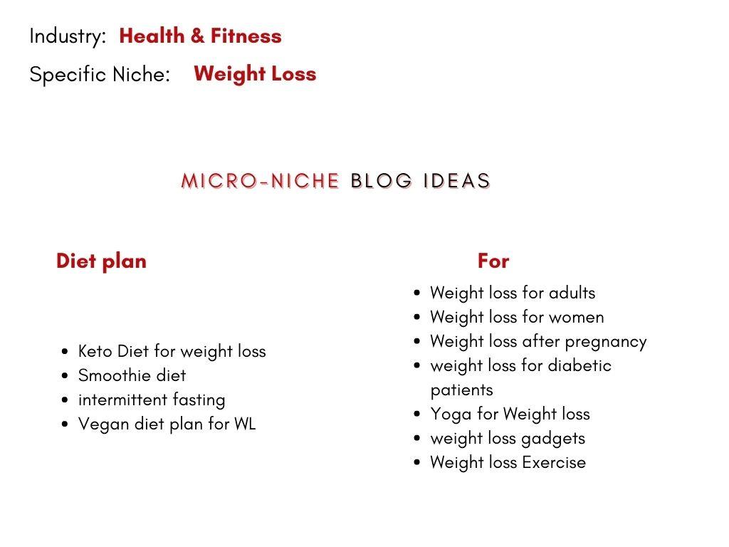 Micro Niche blog ideas in weight loss Niche