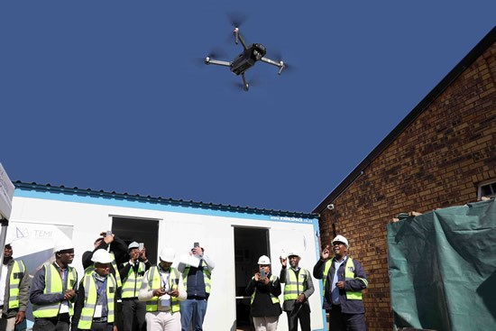 Operating the drone for improved infrastructure development.