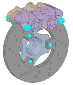 Модель тормозной системы, выделены болты, которые необходимо заменить на балочные элементы
