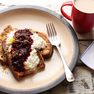 French Toast With Quick Blackberry Compote and Lemon Ricotta.