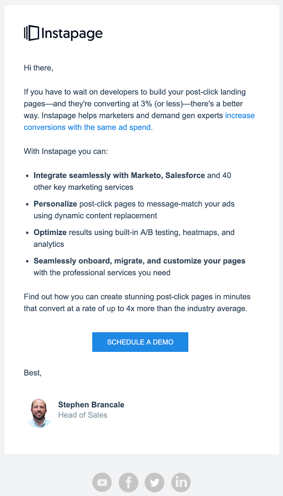 Instapage sales email