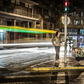 Downtown Athens, Greece by Ryan Skeers - City,  Street & Park  Street Scenes ( girls, greece, athens, city lights, streets, long exposure, street lights )
