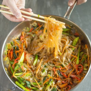 Vegetable Stir Fry Mung Bean Noodles.