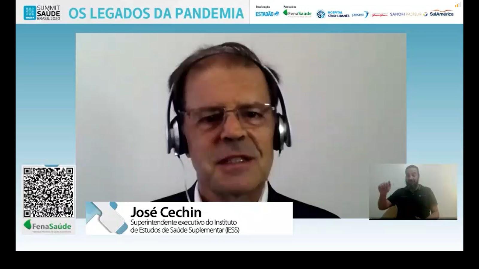 """""""O maior incentivo que o governo poderia dar, neste momento e daqui para frente, não é o financeiro, mas encampar a promoção de saúde e a criação de hábitos adequados"""", comenta José Cechin. (Fonte: Summit Saúde Brasil 2020/Reprodução)"""