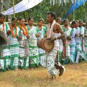 Santhal Tribes celebrating spring festival.. by Ruhi Chanda - People Fine Art ( tribal festival, tribals, cultures, fine art, portraits )