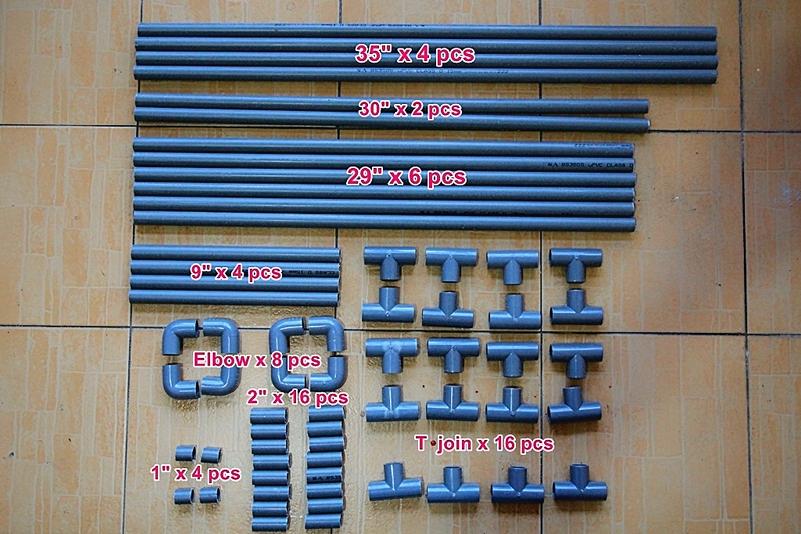 Ukuran paip PVC untuk membina rak ampaian tuala