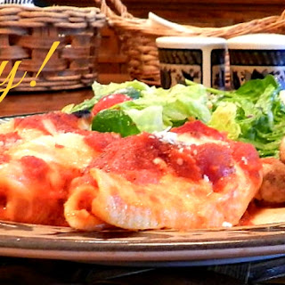 Baked Cheese Stuffed Shells with Sauce.