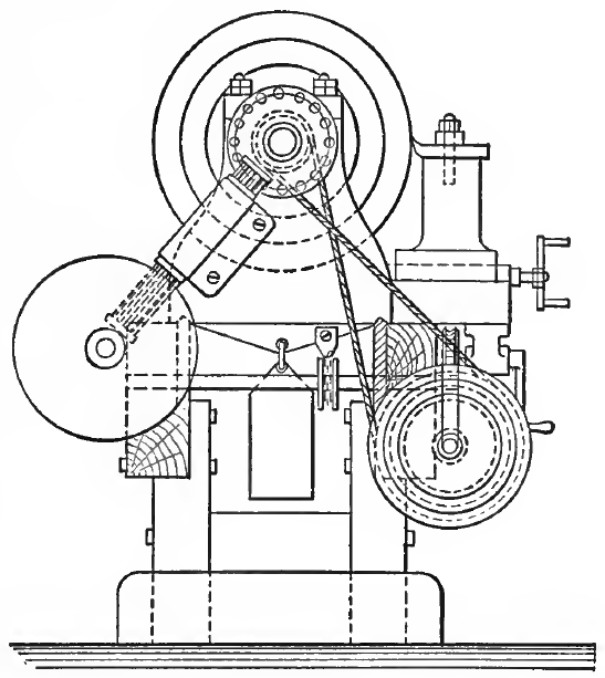 "End Elevation of ""Chain Lathe"""
