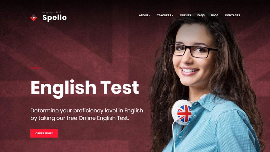 template para site de escola de idiomas spello